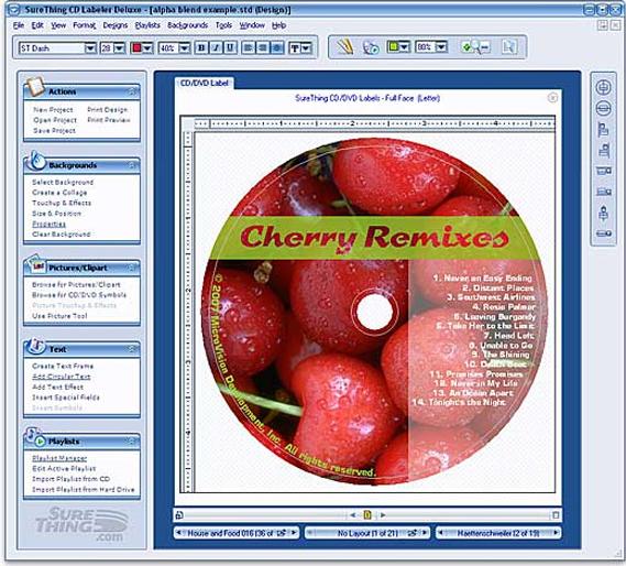 SureThing CD/DVD Labeler Deluxe Edition Screenshot