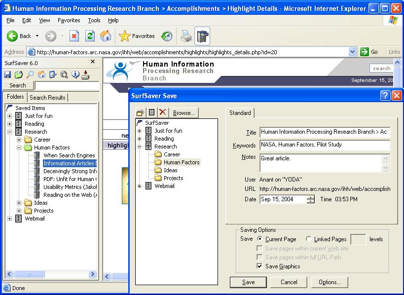 SurfSaver Screenshot