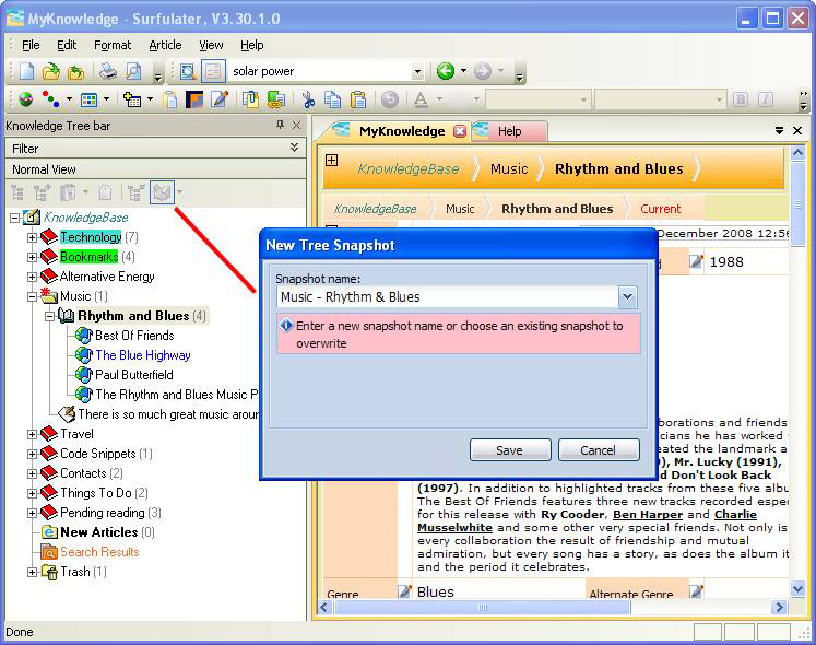 Web Research Software, Surfulater Screenshot