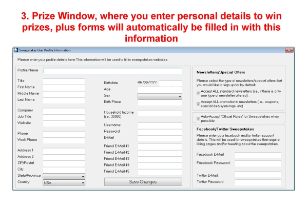 Sweepstakes Ninja, Business Management Software Screenshot