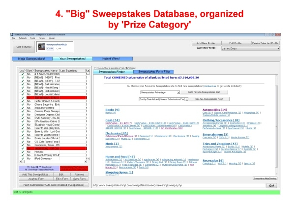 Sweepstakes Ninja, Business & Finance Software Screenshot