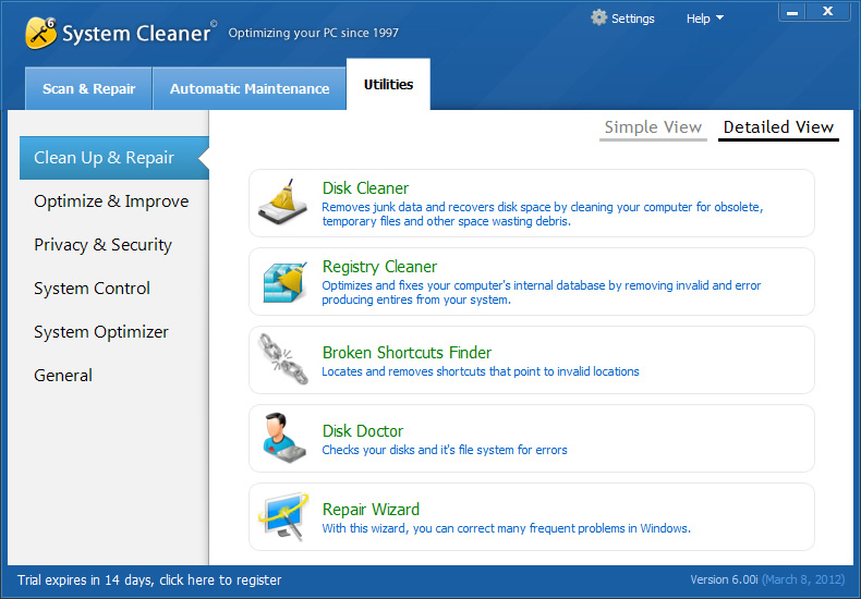 PC Optimization Software, System Cleaner Screenshot