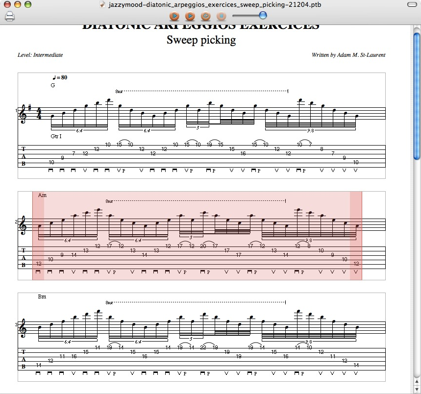 Tablatures Screenshot