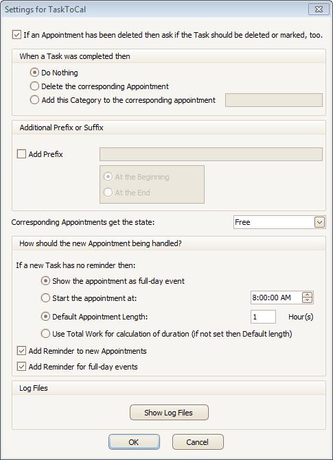 TaskToCal for Outlook, Microsoft Office Software Screenshot