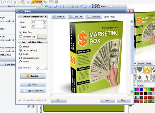 TBS Cover Editor, Boxshot Software Screenshot