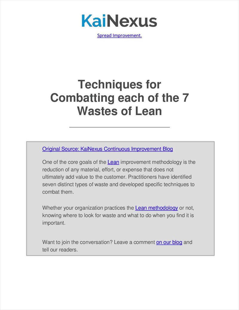 Techniques for Combatting each of the 7 Wastes of Lean Screenshot