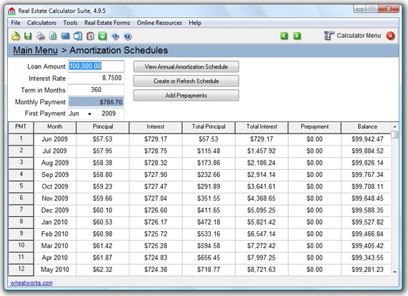 TedCo Real Estate Software Bundle, Finance Software Screenshot