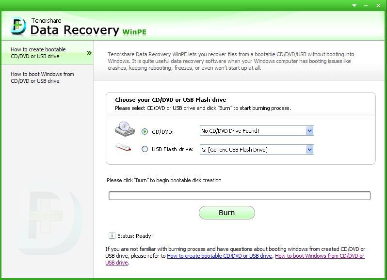 Tenorshare Data Recovery WinPE Screenshot