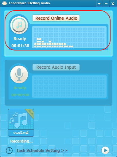 Recording Studio Software, Tenorshare iGetting Audio Screenshot