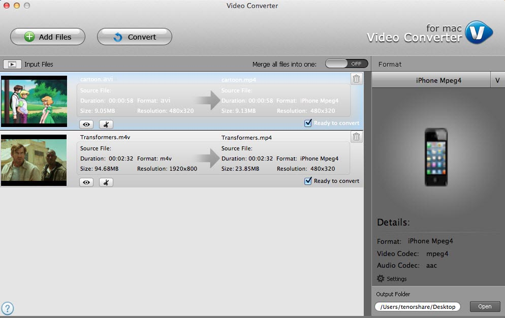 Tenorshare Video Converter for Mac Screenshot