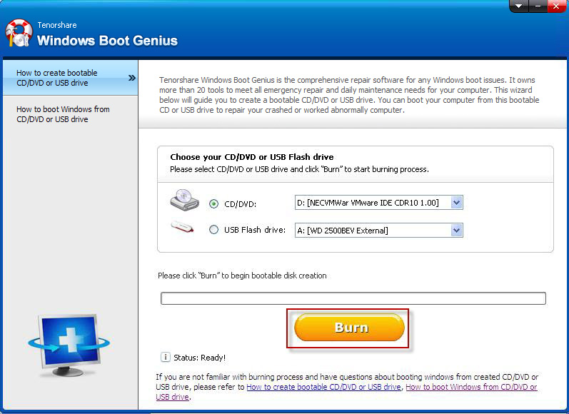 Tenorshare Windows Boot Genius Screenshot