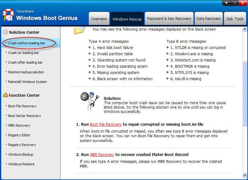Tenorshare Windows Boot Genius, PC Optimization Software Screenshot