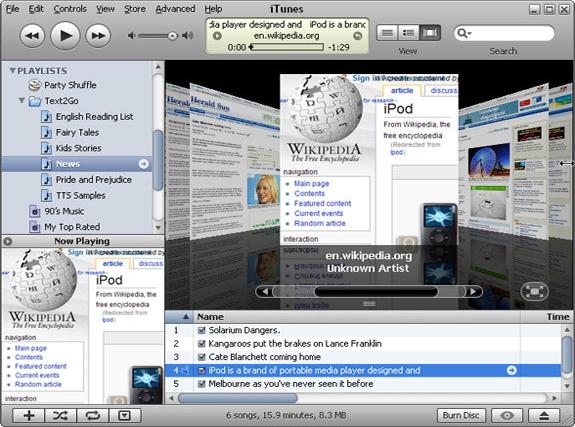 Text2Go, Audio Software Screenshot