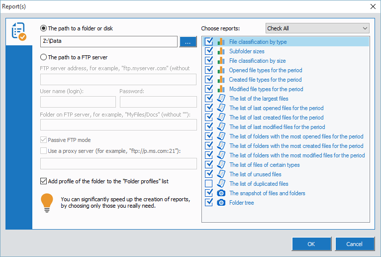 Total Directory Report, File Management Software Screenshot