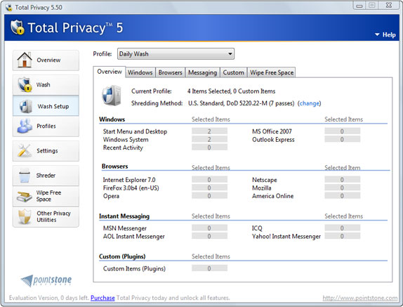 Total Privacy, Privacy Software Screenshot