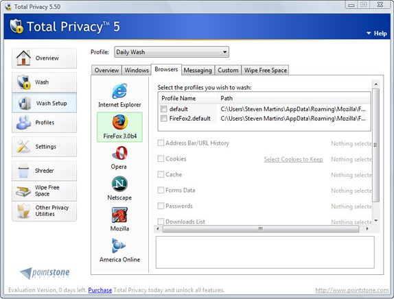 Total Privacy, Security Software Screenshot