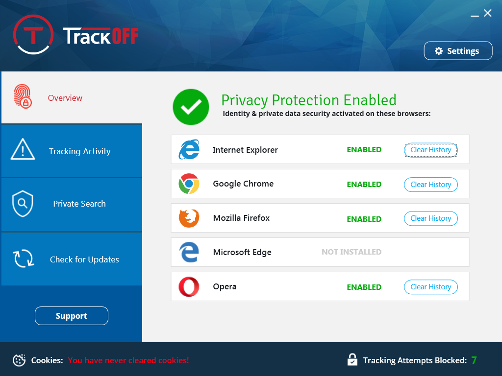 TrackOFF Privacy Software Screenshot
