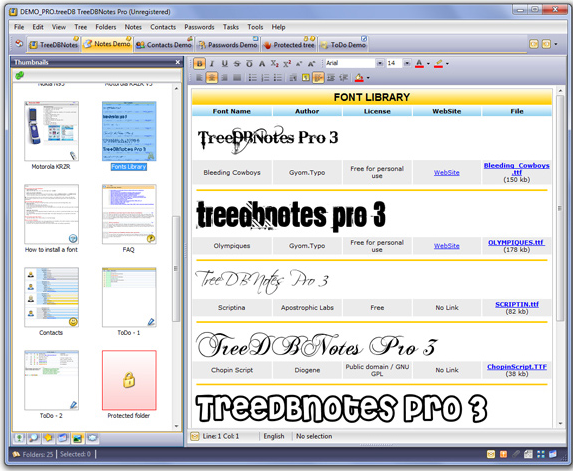 TreeDBNotes Pro, Hobby, Educational & Fun Software Screenshot