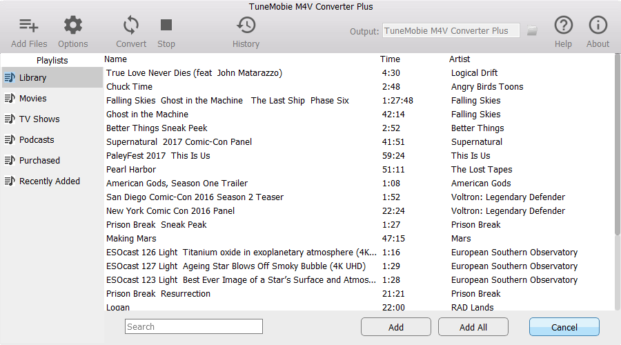 TuneMobie M4V Converter Plus, Audio Conversion Software Screenshot