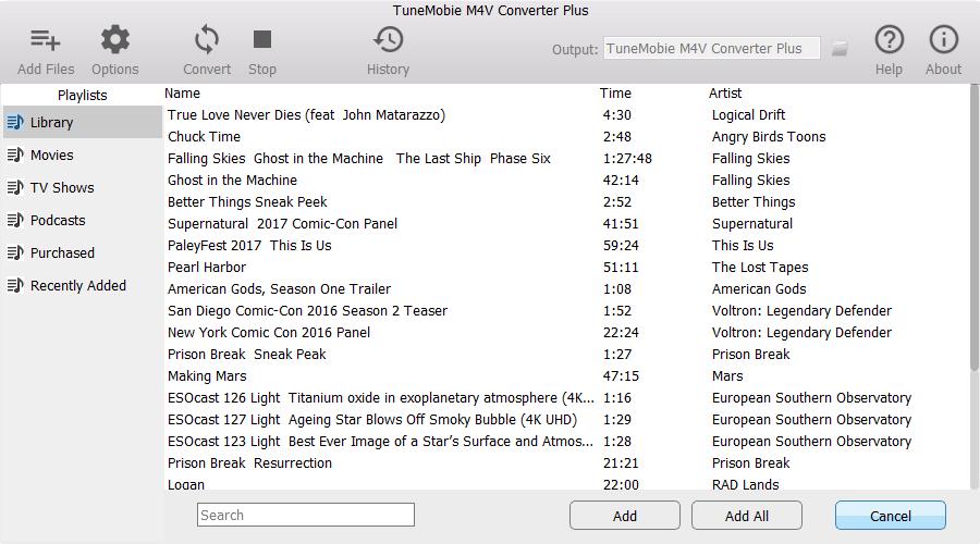 TuneMobie M4V Converter Plus, Audio Conversion Software Screenshot