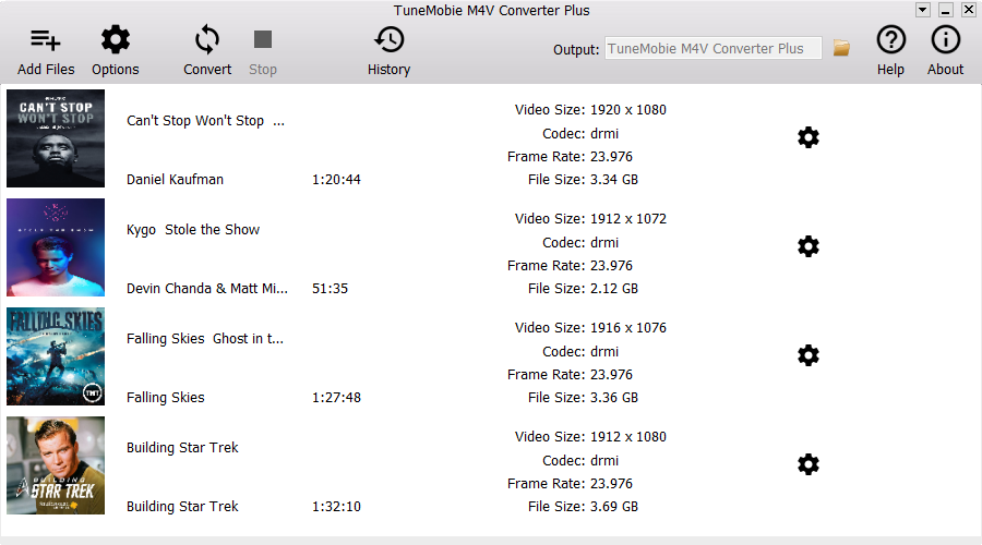 TuneMobie M4V Converter Plus Screenshot