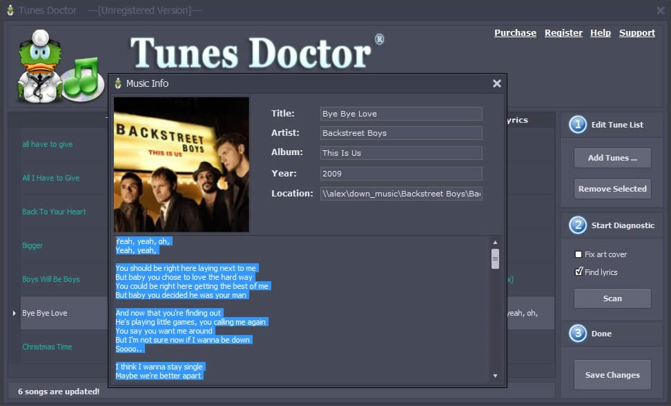 Tunes Doctor, MP3 Tag Editing Software Screenshot