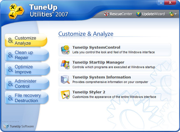 TuneUp Utilities 2007 - System Tweaker Software Download for PC