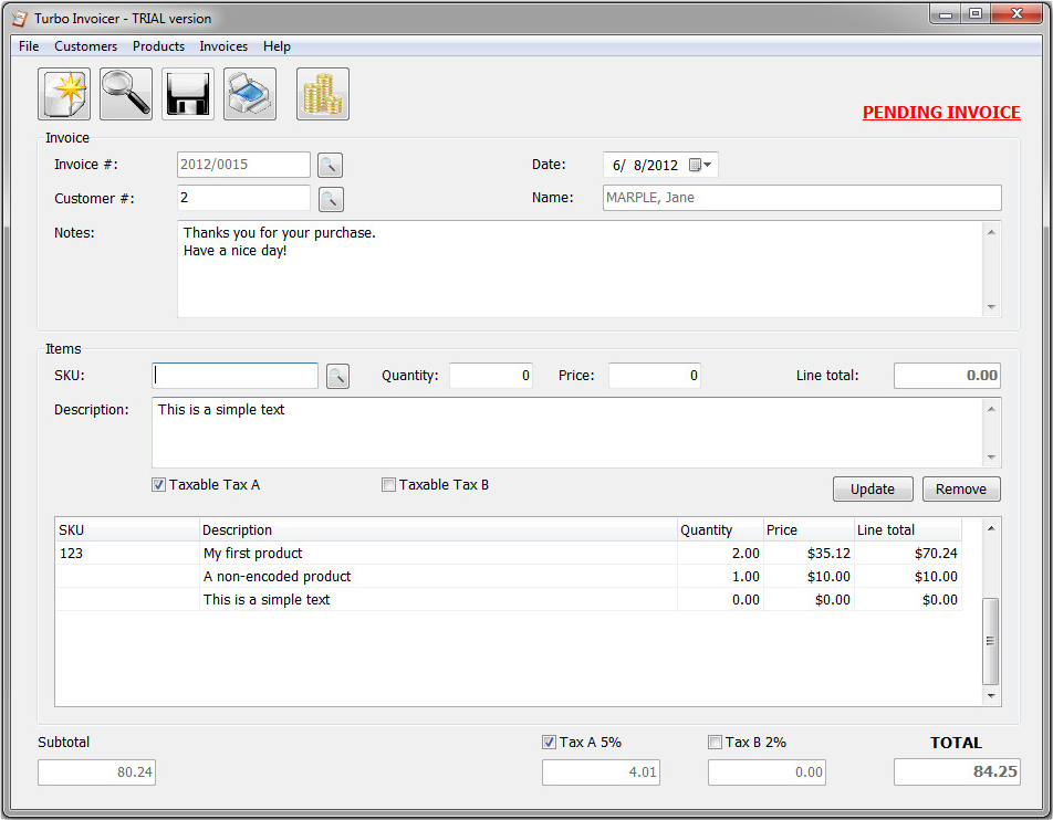 Accounting Software, Turbo Invoicer 2 Screenshot