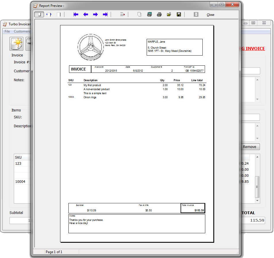 Turbo Invoicer 2, Business & Finance Software Screenshot