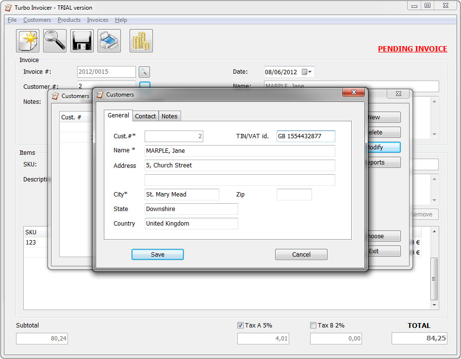 Turbo Invoicer 2, Accounting Software Screenshot