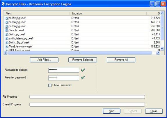 Uconomix Encryption Engine, Encryption Software Screenshot