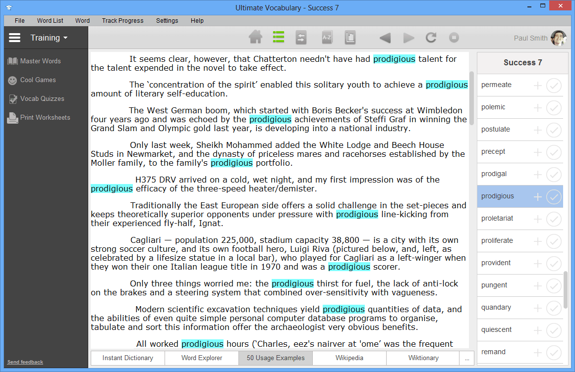 Ultimate Vocabulary, Educational Software Screenshot