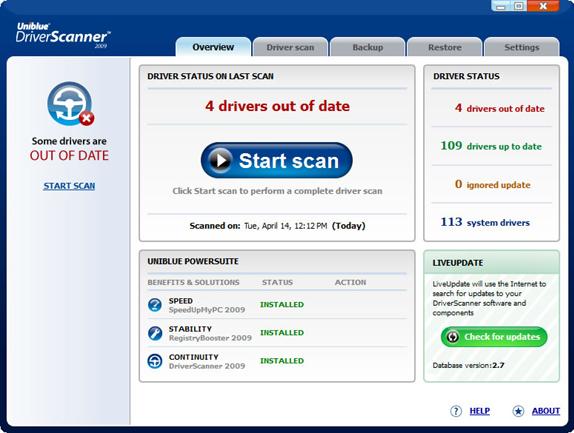 Uniblue Driver Scanner 2009 Screenshot