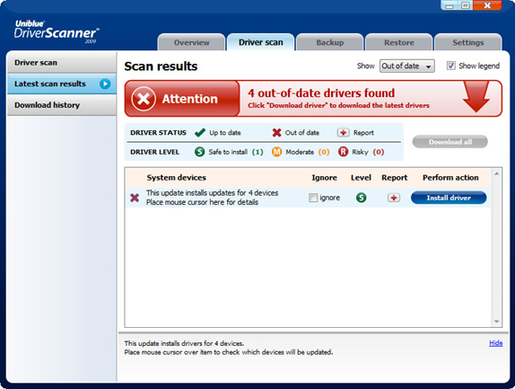 Uniblue Driver Scanner - PC Optimization Software for PC
