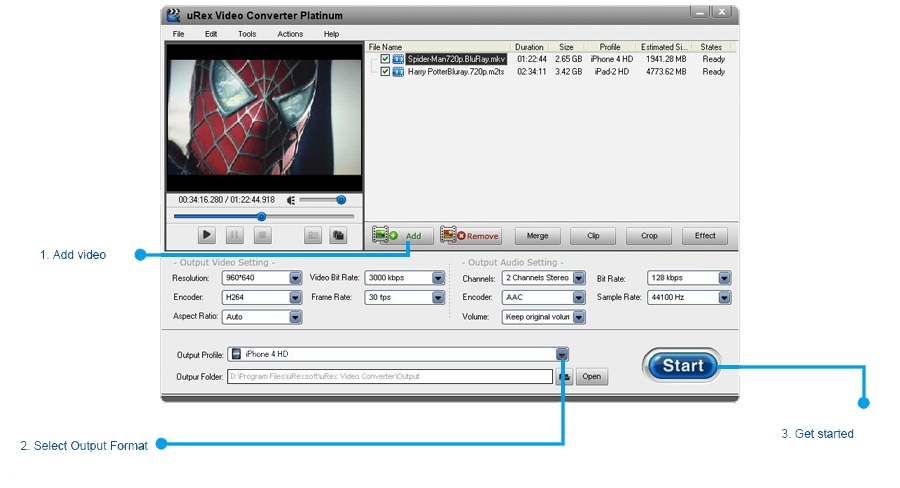 uRex Video Converter Platinum Screenshot