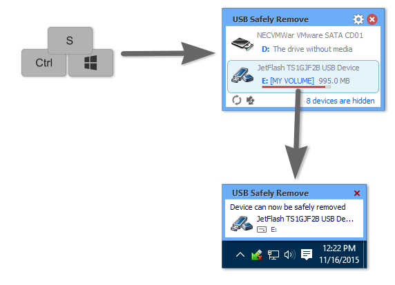 USB Safely Remove, File Management Software Screenshot