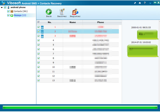 Vibosoft Android SMS+Contacts Recovery, Backup and Restore Software Screenshot