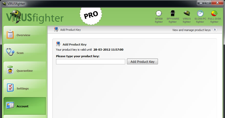 Antivirus Software, VIRUSfighter Screenshot