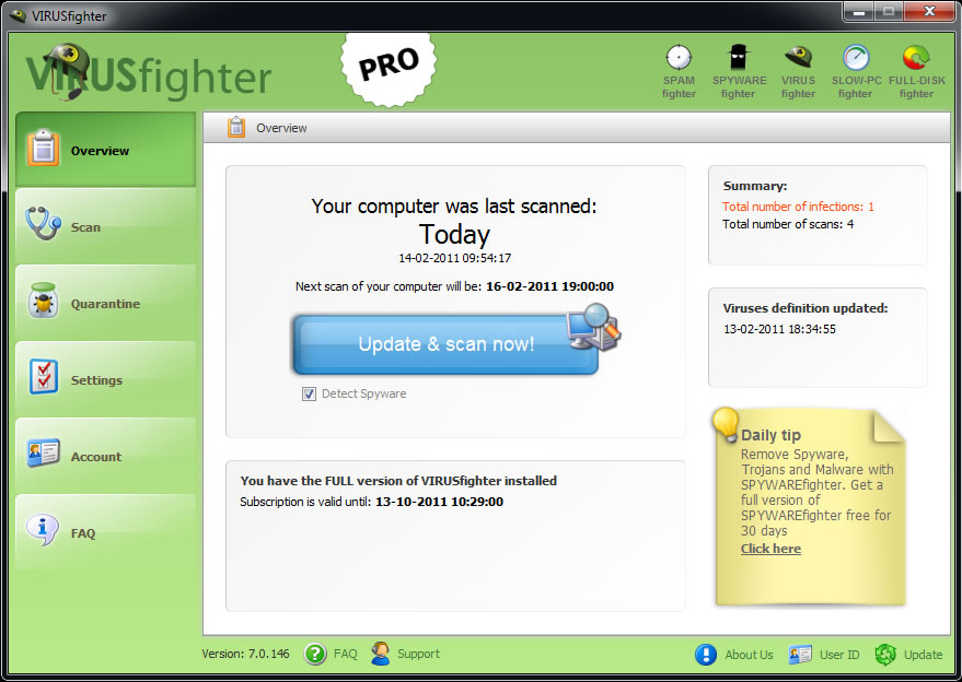 VIRUSfighter, Antivirus Software Screenshot