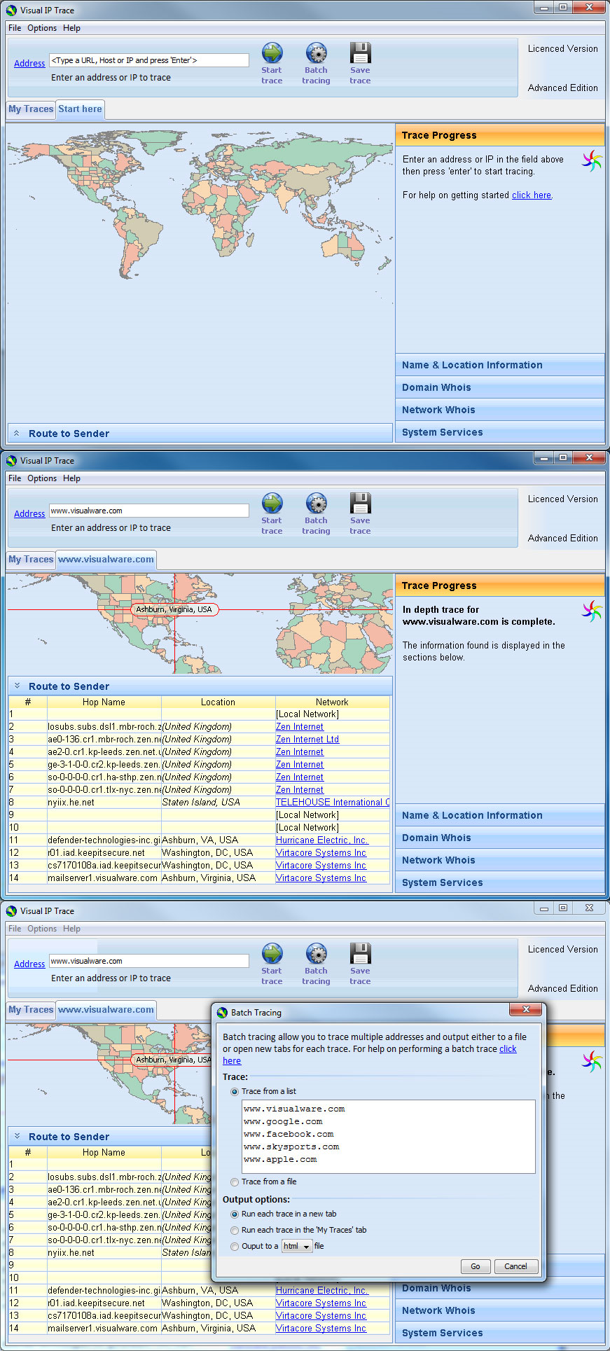Visual IP Trace Standard Edition Screenshot