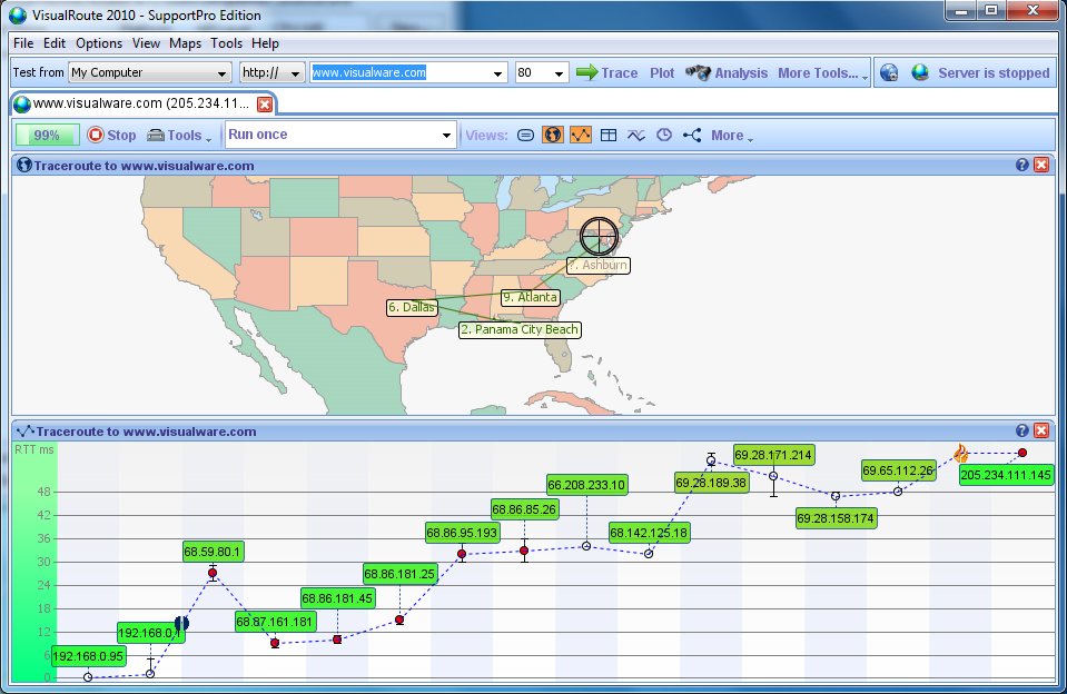 VisualRoute Business Edition, Network Connectivity Software Screenshot