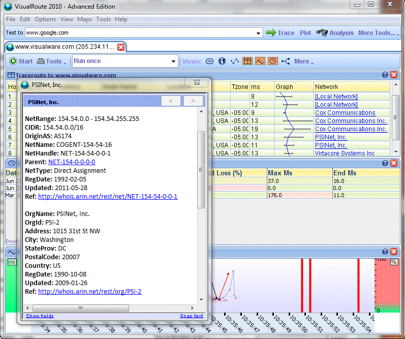 Network Connectivity Software, VisualRoute Personal Edition Screenshot