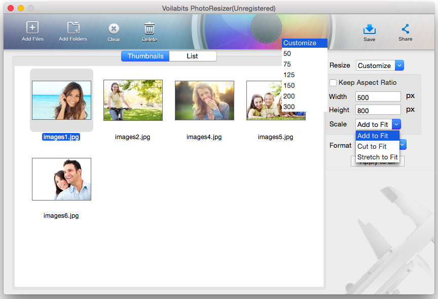 Voilabits PhotoResizer for Mac Screenshot