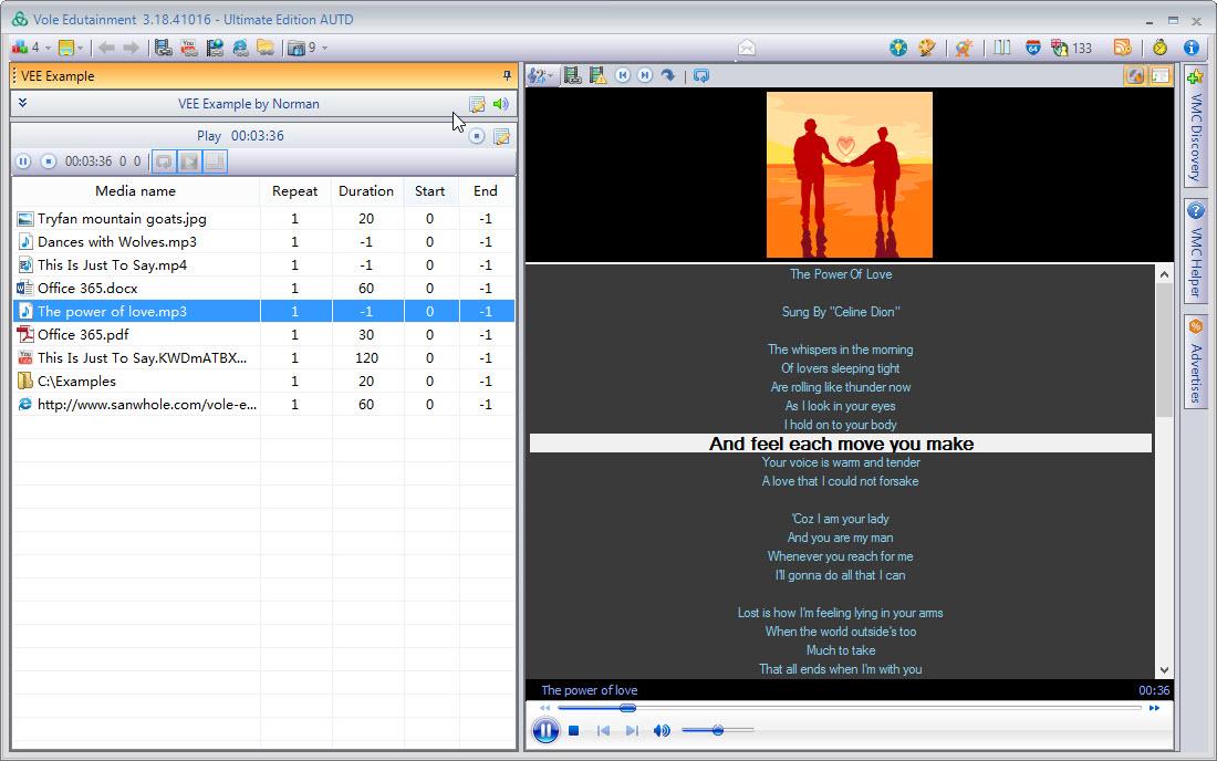 Video Software, Vole Edutainment Professional Edition Screenshot