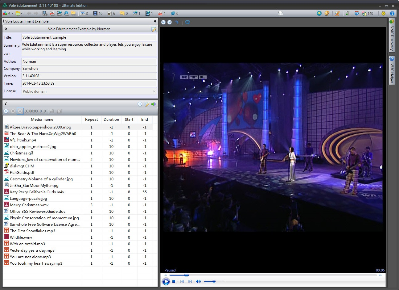 Vole Edutainment Professional Edition, Video Software Screenshot