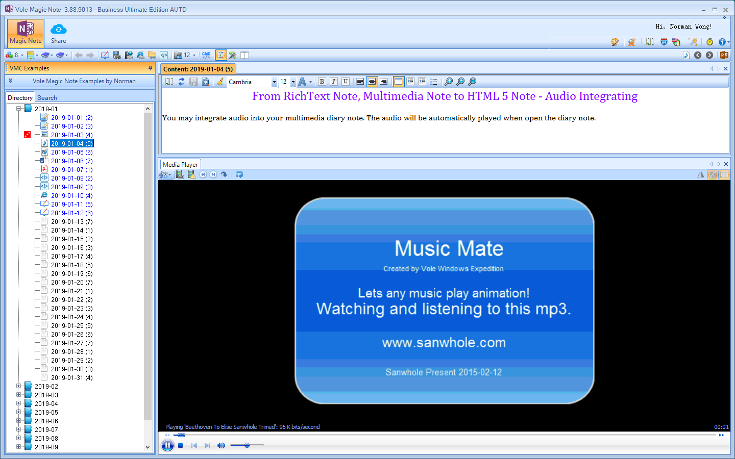 Vole Magic Note Ultimate Edition, Hobby, Educational & Fun Software, Writing and Journaling Software Screenshot