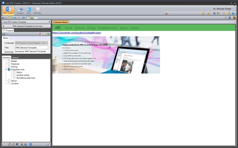 Vole PDF Creator Business Ultimate Edition, PDF Utilities Software Screenshot