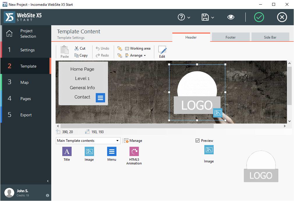 Website Builder Software, WebSite X5 Start Screenshot