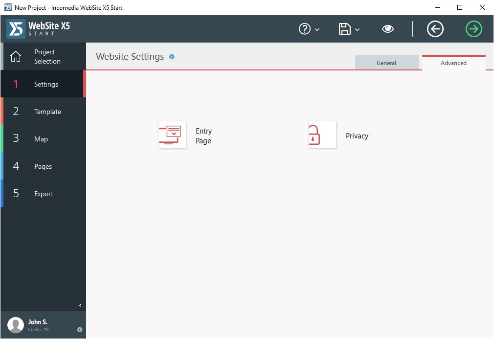 WebSite X5 Start, Website Builder Software Screenshot