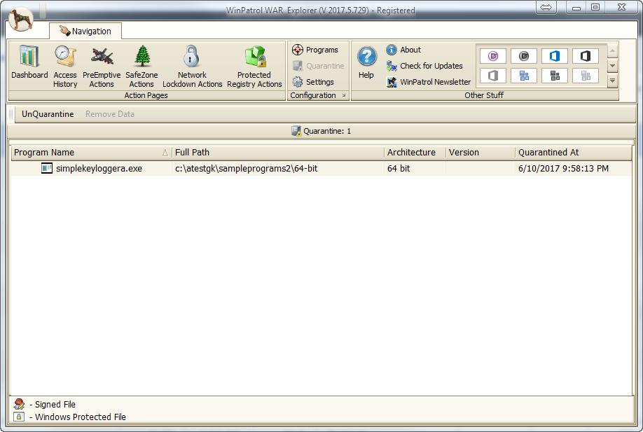 Antivirus Software, WinPatrol WAR Screenshot